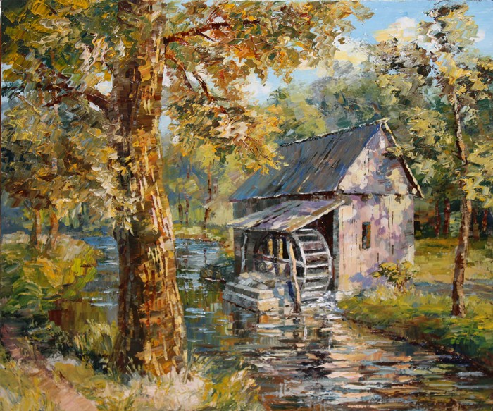 Painting Countryside landscape The Forest Watermill